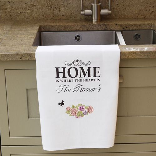 Personalised Shabby Chic White Tea Towel